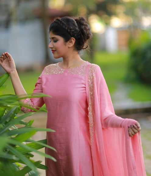 Pink Chandheri Suit with Sugarbead Highlights