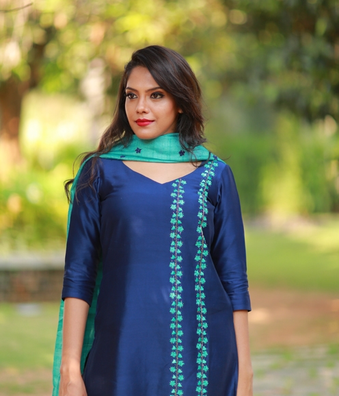 Navy Blue Chandheri Suit with Silky Kota Dupatta