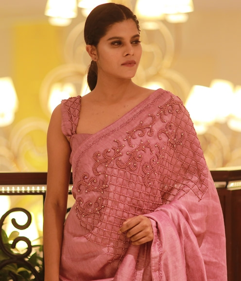 Light Purple Linen Saree with Pearl Highlights