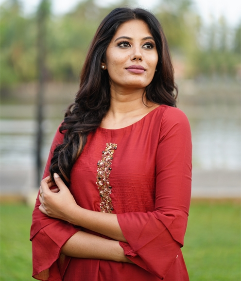 Brick Red Linen Kurti with Sequins work on neck (Unstitched)