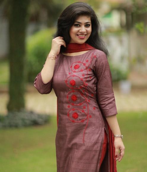 Marsala Shade Tussar Silk Suit