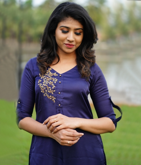 Navy Blue Satin silk Kurti with Gold Sequin work (Unstitched)