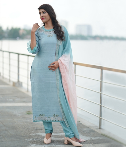 Ice Blue silk suit with thread work and applique highlights