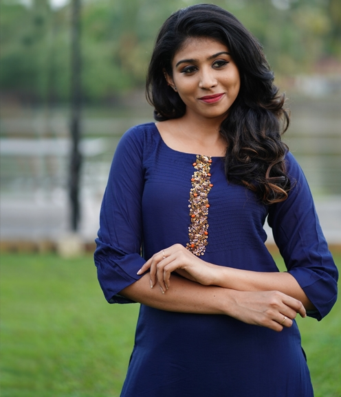 Navy Blue Chandheri kurti with Sequince Clustered work ( Unstitched )