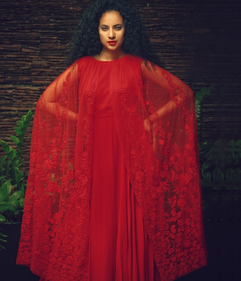 Red Net Cape Gown
