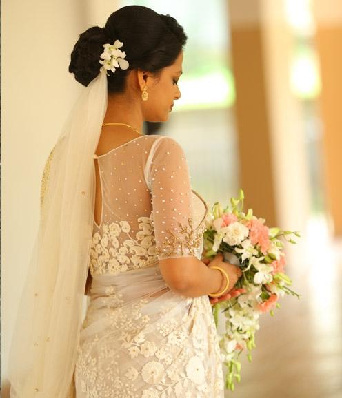 Christian Bridal Saree with Zardozi Highlights