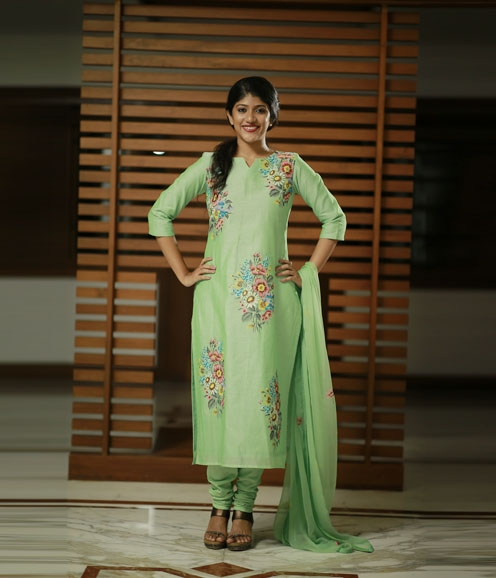 Pista Green Hand Painted Chandheri Suit