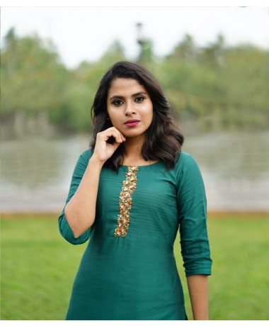 Teal Green Kurti with Sequin Clusters (Unstitched)