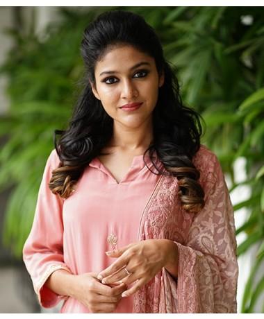 Pink Crepe Silk with Chikenkari Dupatta