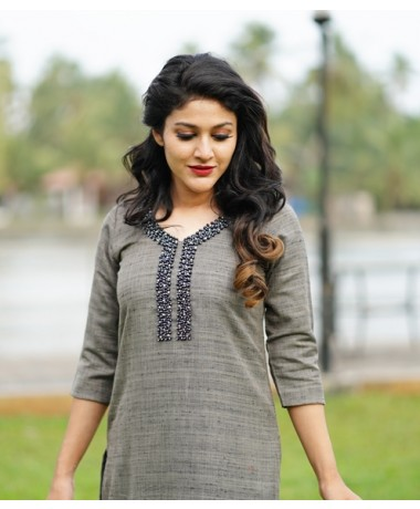 Charcoal Shaded Cotton Mix Kurti with Pearl Work