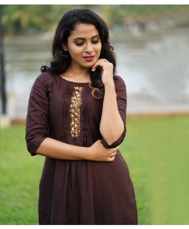 Brown Chandheri kurti with Sequince Clustered work ( Unstitched )