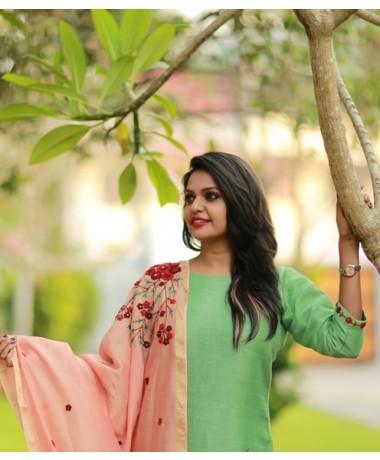 Parrot Green Linen with Handworked Dupatta