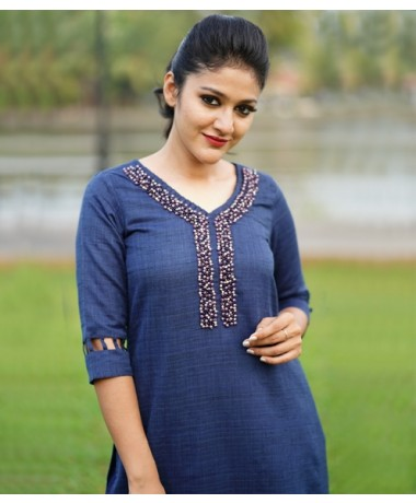 Navy Blue LInen kurti with Pearl Embossed work ( Unstitched )