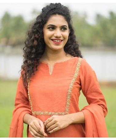 Burnt Orange Chandheri Suit with Zardosi Work ( Unstitched )