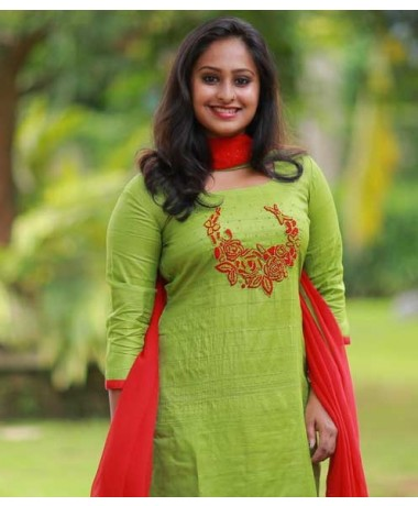 Parrot Green Tussar with Floral Embroidery