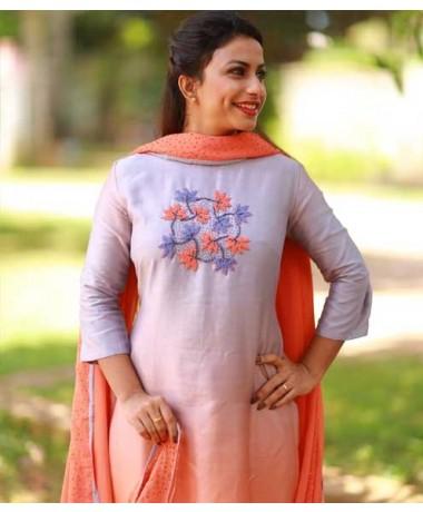 Ash Orange Shaded Chanderi
