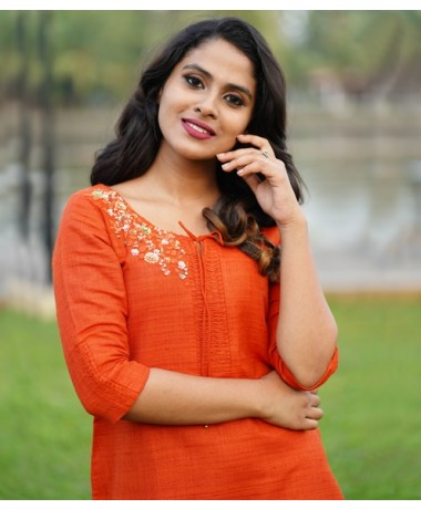 Bright Peach Linen Kurti with Sequins Clustered work ( Unstitched )