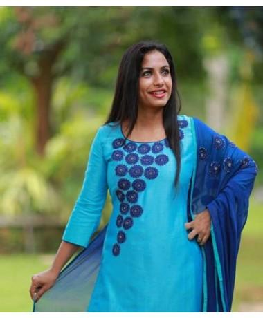 Blue Chandheri with Embossed Floral Work