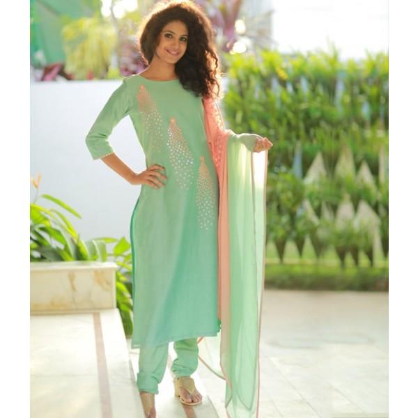 Mint Green Peach Combo Mirror Work Chandheri Suit
