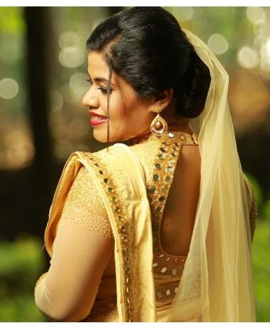 Christian Bridal Tissue Saree Mirror work