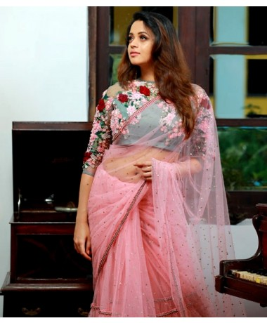 Dull Pink Net Saree with Floral Embellished Blouse