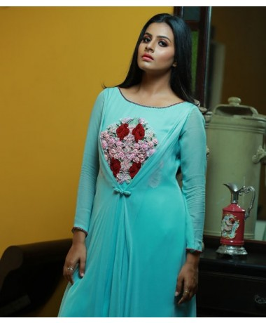 Aqua Blue Assymetrical top Overlay with Embroidered Yoke