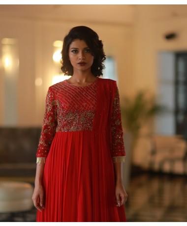 Red Zardozi Gown with Geometrical Embellishments