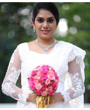 White Christian Bridal  Gown Saree pre-draped
