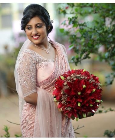 Baby Pink Chickankari saree with Pearl borders and handwork blouse