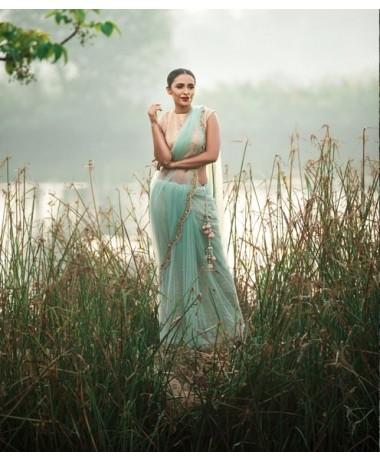 Mint Net Saree