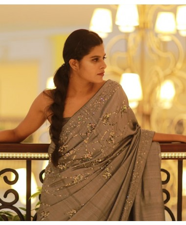 Ash Tussar Saree with Lavender Tint