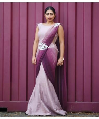 Lavender Purple Saree Gown