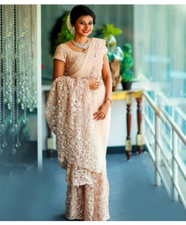Christian Bridal Saree wiith Trail Handworked