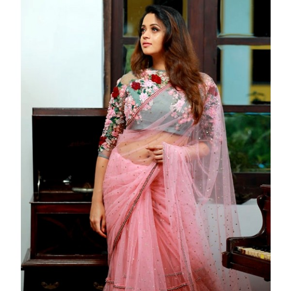 Dull Pink Net Saree With Floral Embellished Blouse New
