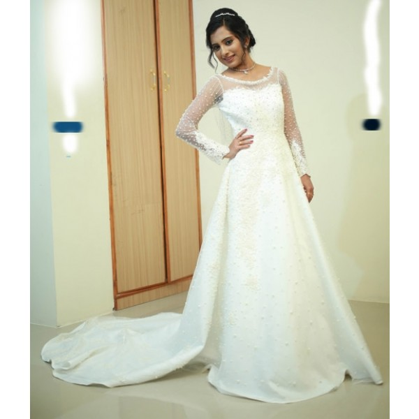 Christian Wedding Gown: Christian Bridal Gown With Pearl Embellished