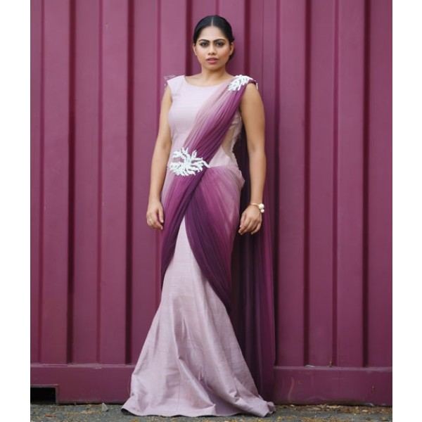 Lavender Purple Saree Gown - Lehengas - Products