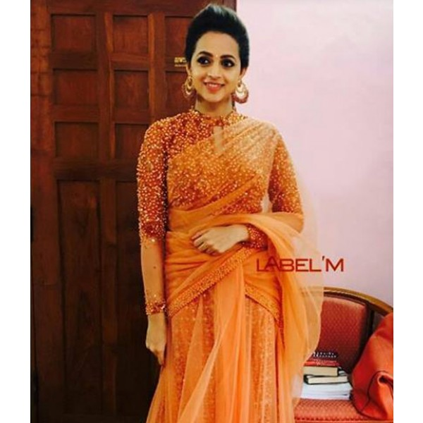 Bhavana in coral shade lehenga saree party wear sarees customer bhavana in coral shade lehenga saree party wear sarees customer diaries altavistaventures Image collections