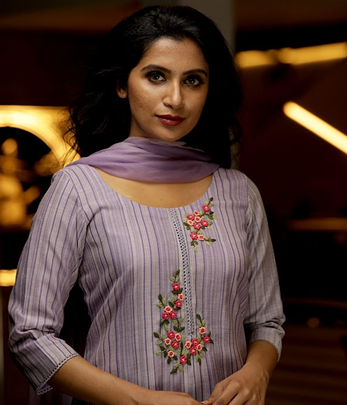 Lavender stripe salwar suit with thread embroidery (unstitched)